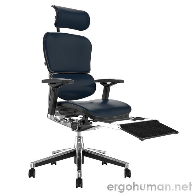 Ergohuman Elite Black Leather Office Chair with Leg Rest