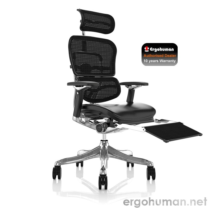 Ergohuman Plus Luxury Black Leather Office Chair with Leg Rest