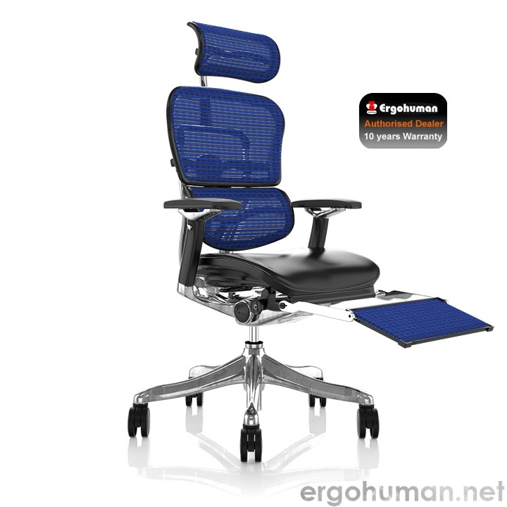 Ergohuman Plus Luxury  Leather Seat, Mesh Back Office Chair with Leg Rest