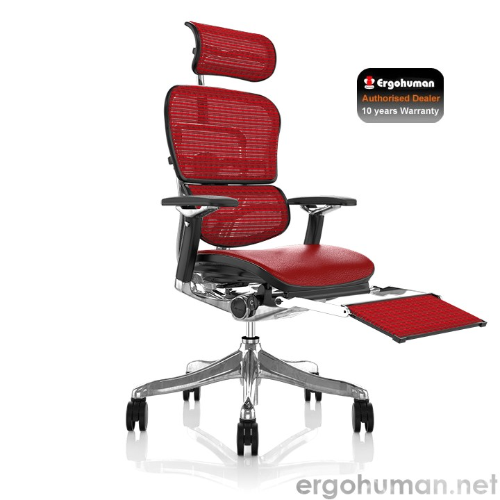 Ergohuman Plus Luxury Leather Office Chair with Leg Rest